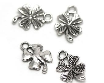 "10 charms ""clover four leaf"", 15 x 10 mm, silver, has 038"
