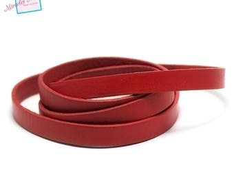 genuine 10 mm red leather cord 1 m