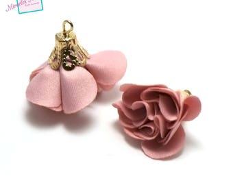 """2 beautiful 22 x 22 mm, pink collar: 6 """"pink"""" fabric tassels"""
