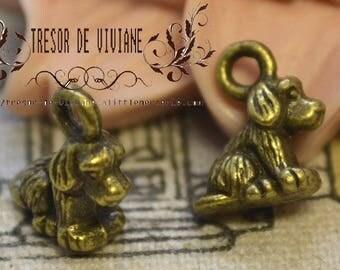 Set of 10 QDW170 pendant, bronze, dog