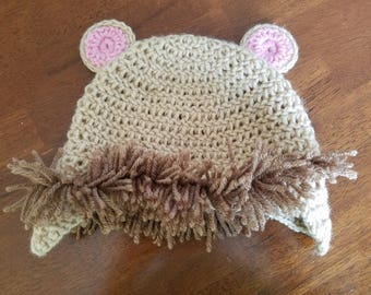 Crochet lion hat, diaper cover, and booties