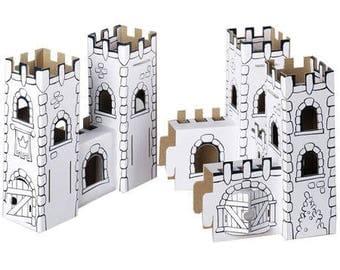 Château fort à construire et à colorier avec 12 feutres inclus / Kit créatif DIY pour enfant