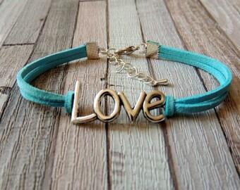 Love bracelet Blue Suede suede