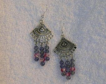 Earring silver ethnic print