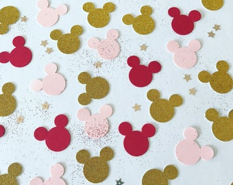 Mickey Mouse Confetti, Three Colours, Mickey Mouse Inspired, Party Decorations, Red, Black and Silver Glitter, other colours available