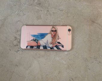 Fashion Beach Sunshine Girl , iPhone 7 Case,  iPhone 6s, Top Selling Gift for Her Best Friend Hard Clear iPhone Case
