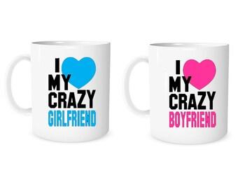 Custom Mug Personalized Mug I Love My Crazy Girlfriend  I Love My Crazy Boyfriend  Mug Coffee Mug Girlfriend Boyfriend Mug Anniversary Mug