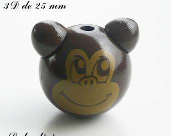 25 mm wooden bead, Pearl 3D monkey: Brown / Coffee
