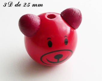 25 mm wooden bead, Pearl 3D Teddy bear head: Red