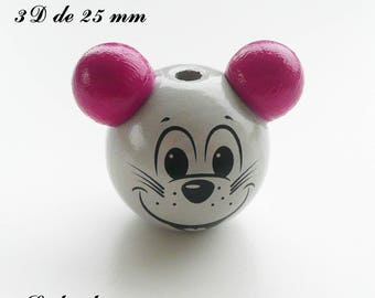 25 mm wooden bead, Pearl 3D mouse head: light gray / dark pink