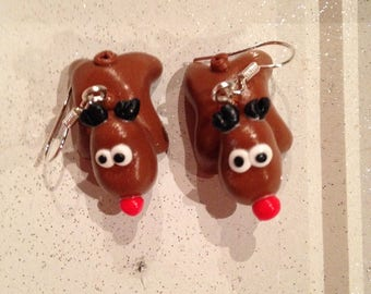 Earrings with polymer clay little rene.