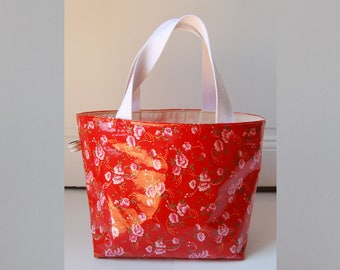 Small lined cotton tote bag