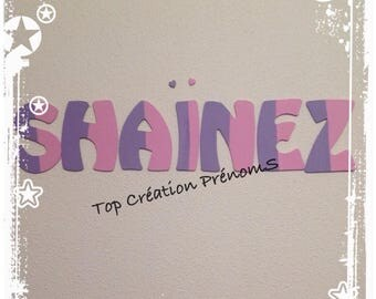 Name personalized - 15 cm tall no glitter painted wood letter
