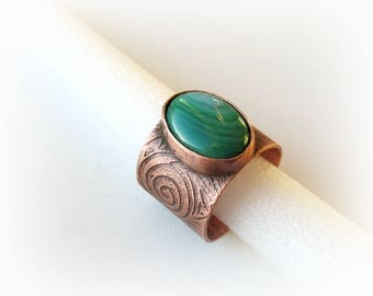 Copper ring, Bohemian ring, Copper jewelry,  agate ring, boho copper ring, agate, Boho jewelry. Copper ring with hand drawn, etched design.