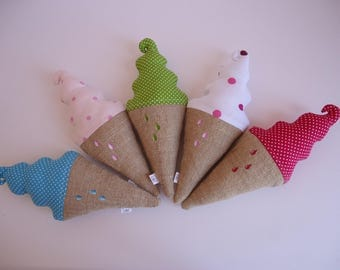 Ice-cream cone in Burlap and spring green cotton with white polka dots.