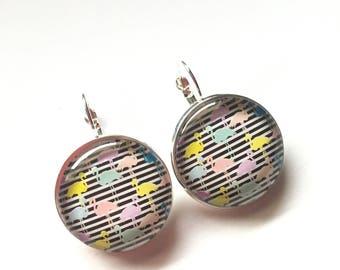"Earrings original ""colorful flamingos"", derision, flamingo cocktail"