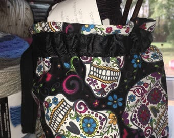 Sugar skull project bag/ gift bag/kids trinket bag/toy bag/travel bag