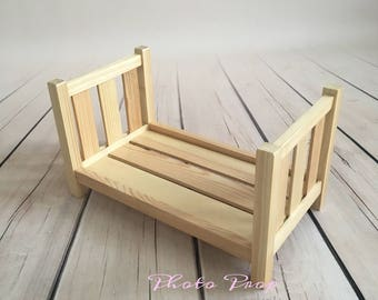 Wooden bed NEWBORN/BABY PHOTOGRAPHY, photo prop, Bed Photography Prop, Doll Bed