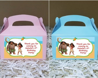 Sale! 12 Moana Treat Boxes, Moana Gable Boxes, Moana Candy Boxes, Moana Party Boxes