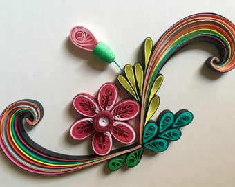 Flower Design:Handmade Quilling Art Gift-Quilled Art Flower-Wall Art Picture-House Warming Gift-Special Flower Design-Gift For Occasions
