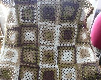 Brown granny square baby blanket