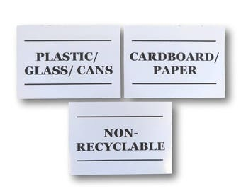 3 x outdoor bin stickers wheelie bin vinyl recycling bottles cans plastic