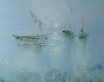 """Sailing boats """"My life is my work"""", painting"""