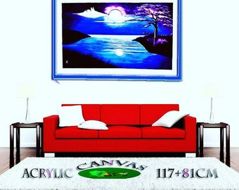 Large Moon over lake blue purple painting