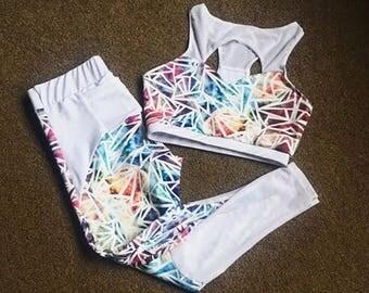 GYMGRL Geometric Set (Sports Bra & Leggings) - activewear - yoga wear - sports wear - gymnastics