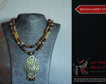 Brown Garnet Stone necklace with Gold plated handmade pendant