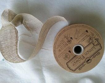 Linen beige flower trim - 40mm