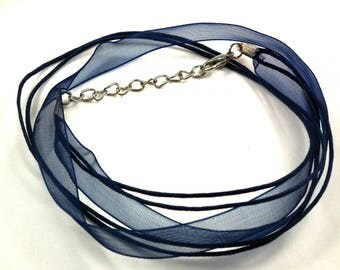 X 1 pce necklace organza Navy /coton ♥ ♥