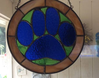 Stained Glass Dog Paw