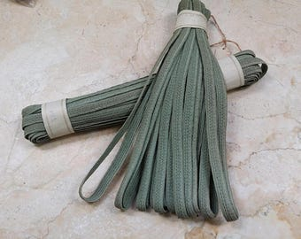 """3/8"""" HANK Vintage Petite 4 rows of 1/8"""" Narrow Millinery Braid straw Raffia Millinery supplies Perfect Muted Sage Green hat supply milliner"""