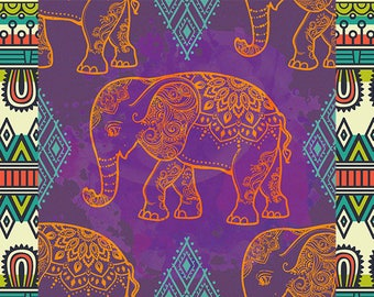 ORIGINAL design, durable and WASHABLE PLACEMAT - Indian Art - sacred Elephants 2 - classic.
