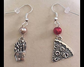 """Mismatched earrings """"pizza and fries"""""""