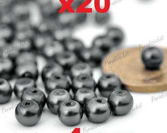20 beads glass Pearl 4mm gray colors ref5