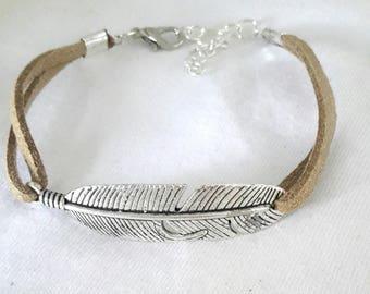 Handmade bracelet silver feather suede Beige gold unique ❤
