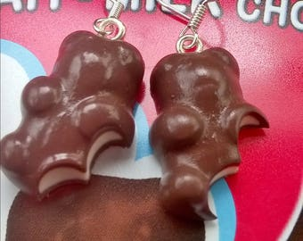Earrings gourmet chocolate marshmallows captured Teddy fimo
