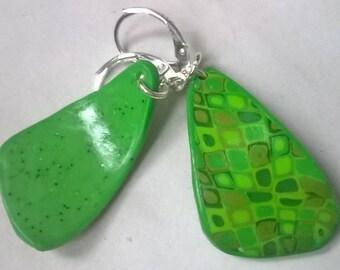 Mosaic, green gradient earrings
