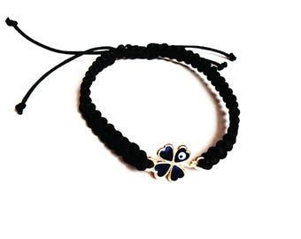 Clover macrame bracelet blue evil eye