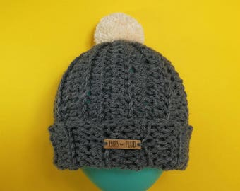 Adults | GREY | Unisex Crocheted Bobble Hat | With Cream Pom Pom