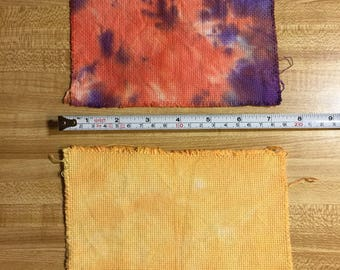 2 pieces of hand tie dyed 14-count Aida cloth