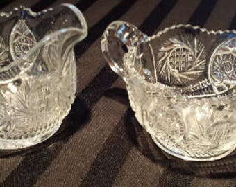 American Brilliant EAPC Buzz Saw Pattern Creamer and Sugar Bowl Early 1900s  D166