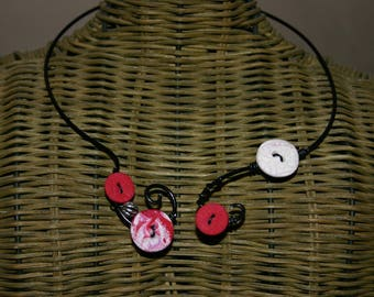 Fantasy polymer clay and aluminum wire necklace