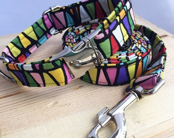Triangles Dog Collar and Leash Set