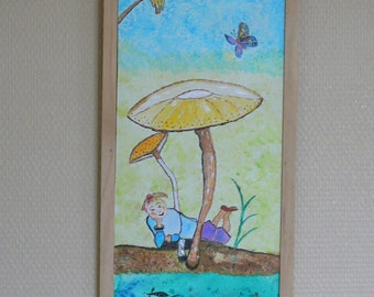 Table Art naive style Japanese: dreams of a girl under mushroom