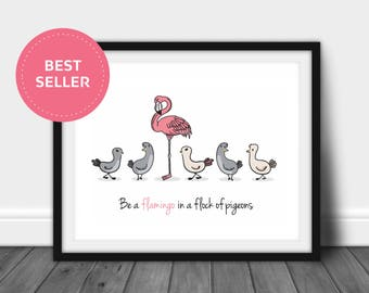 Flamingo Printable | Wall Decor | Prints | Engagement Presents | Art Decor | Pink Flamingo Gifts | Cute Flamingo Gifts | Home Decor