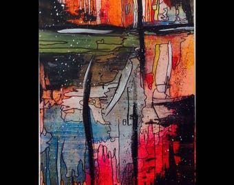 Original abstract, acrylic painting, on canvas. 'Lost'