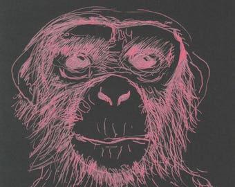 Portrait on paper black 13.5x13.5 cm monkey face on metallic pen